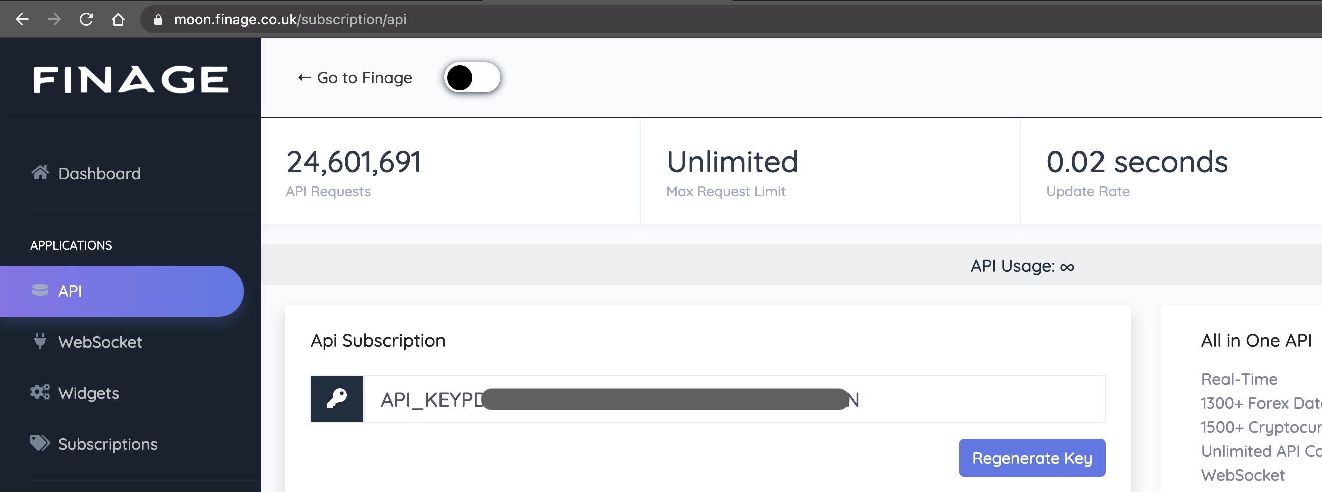 Moon Dashboard Free API Key